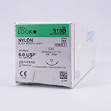 "LOOK 6-0 Nylon Plastic Surgery Suture, Black Mono, 18""/45cm, C22, 16mm 3/8 Circle. MFID: 915B"