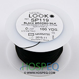 LOOK 0 Silk Suture Spool, Black Braid, 100 yd. MFID: SP119