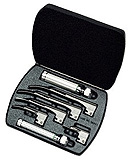 Welch Allyn Fiber Optic Laryngoscope Miller Set, w/ 5 blades, 2 handles, and Case. MFID: 68696