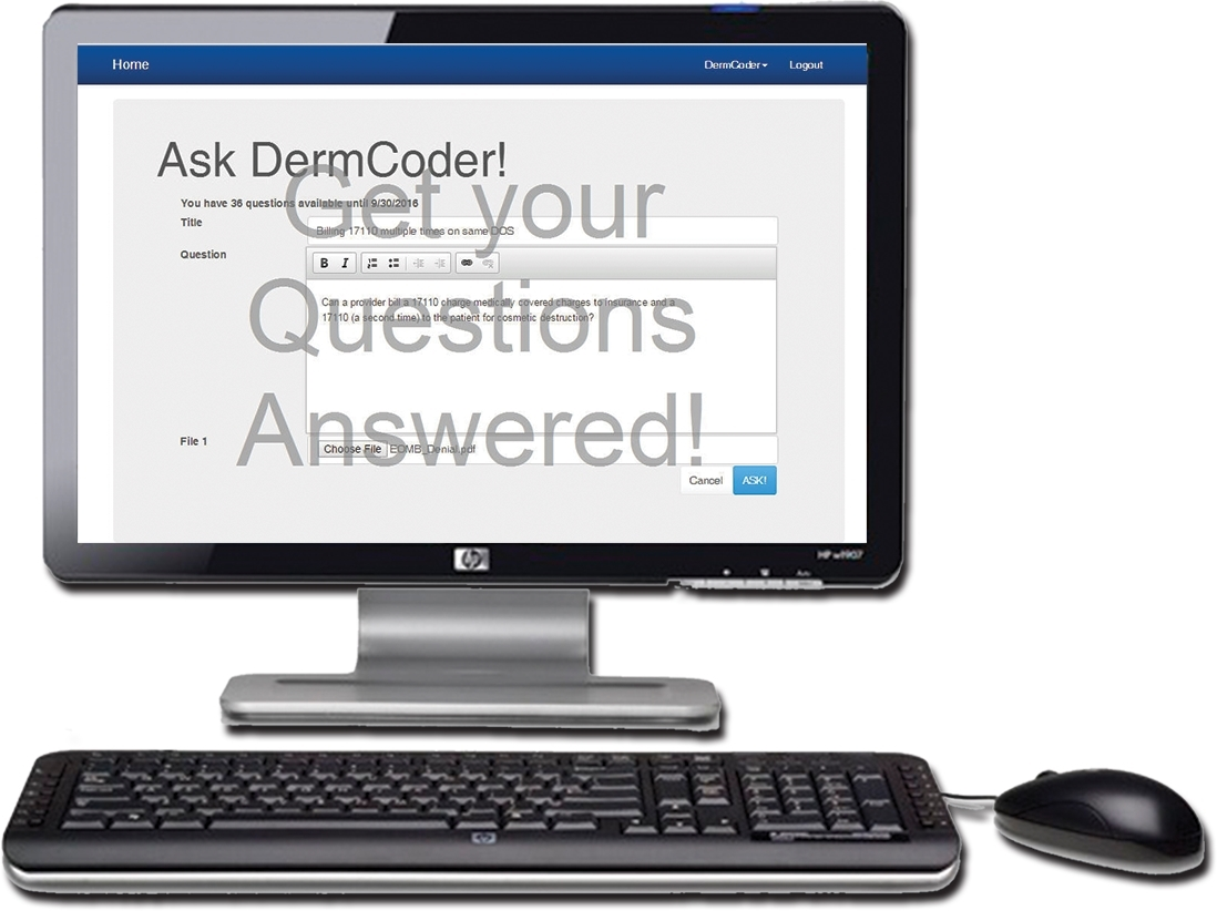 ask dermatology coding and billing question hotline