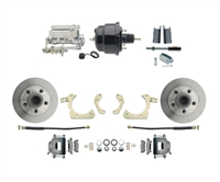 "DBK5558-GMFS1-710-1955-1958 GM Full Size Disc Brake Kit w/ 8"" Dual Powder Coated / Aluminum Chrome Booster Kit"