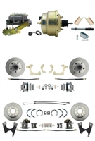 "DBK55581012FS-GMFS1-211 - 1955-1958 GM Full Size Front & Rear Power Disc Brake Kit (Impala, Bel Air, Biscayne) & 8"" Dual Zinc Booster Conversion Kit w/ Cast Iron Master Cylinder Left Mount Disc/ Disc Proportioning Valve Kit"