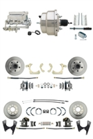 "DBK55581012FS-GMFS1-328 - 1955-1958 GM Full Size Front & Rear Power Disc Brake Kit (Impala, Bel Air, Biscayne) & 8"" Dual Chrome Booster Conversion Kit w/ Flat Top Chrome Master Cylinder Bottom Mount Disc/ Disc Proportioning Valve Kit"