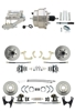 "DBK55581012FS-GMFS1-329 - 1955-1958 GM Full Size Front & Rear Power Disc Brake Kit (Impala, Bel Air, Biscayne) & 8"" Dual Chrome Booster Conversion Kit w/ Flat Top Chrome Master Cylinder Left Mount Disc/ Disc Proportioning Valve Kit"