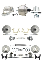 "DBK55581012FS-GMFS1-331 - 1955-1958 GM Full Size Front & Rear Power Disc Brake Kit (Impala, Bel Air, Biscayne) & 8"" Dual Chrome Booster Conversion Kit w/ Chrome Master Cylinder Left Mount Disc/ Disc Proportioning Valve Kit"