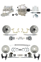 "DBK55581012FS-GMFS1-333 - 1955-1958 GM Full Size Front & Rear Power Disc Brake Kit (Impala, Bel Air, Biscayne) & 8"" Dual Stainless Steel Booster Conversion Kit w/ Chrome Flat Top Master Cylinder Left Mount Disc/ Disc Proportioning Valve Kit"