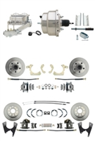 "DBK55581012FS-GMFS1-335 - 1955-1958 GM Full Size Front & Rear Power Disc Brake Kit (Impala, Bel Air, Biscayne) & 8"" Dual Stainless Steel Booster Conversion Kit w/ Chrome Master Cylinder Left Mount Disc/ Disc Proportioning Valve Kit"