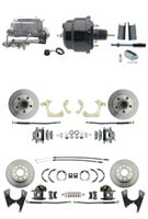 "DBK55581012FS-GMFS1-722 - 1955-1958 GM Full Size Front & Rear Power Disc Brake Kit (Impala, Bel Air, Biscayne) & 8"" Dual Powder Coated Black Booster Conversion Kit w/ Aluminum Master Cylinder Bottom Mount Disc/ Disc Proportioning Valve Kit"