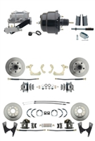 "DBK55581012FS-GMFS1-723 - 1955-1958 GM Full Size Front & Rear Power Disc Brake Kit (Impala, Bel Air, Biscayne) & 8"" Dual Powder Coated Black Booster Conversion Kit w/ Aluminum Master Cylinder Left Mount Disc/ Disc Proportioning Valve Kit"