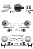 "DBK55581012FS-GMFS1-725 - 1955-1958 GM Full Size Front & Rear Power Disc Brake Kit (Impala, Bel Air, Biscayne) & 8"" Dual Powder Coated Black Booster Conversion Kit w/ Chrome Flat Top Master Cylinder Left Mount Disc/ Disc Proportioning Valve Kit"