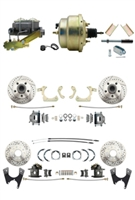 "DBK55581012FSLX-GMFS1-211 - 1955-1958 GM Full Size Disc Brake Kit Drilled/Slotted Rotors (Impala, Bel Air, Biscayne) & 8"" Dual Zinc Booster Conversion Kit w/ Cast Iron Master Cylinder Left Mount Disc/ Disc Proportioning Valve Kit"