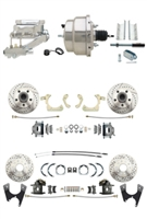 "DBK55581012FSLX-GMFS1-329 - 1955-1958 GM Full Size Disc Brake Kit Drilled/Slotted Rotors (Impala, Bel Air, Biscayne) & 8"" Dual Chrome Booster Conversion Kit w/ Flat Top Chrome Master Cylinder Left Mount Disc/ Disc Proportioning Valve Kit"