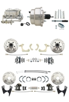 "DBK55581012FSLX-GMFS1-330 - 1955-1958 GM Full Size Disc Brake Kit Drilled/Slotted Rotors (Impala, Bel Air, Biscayne) & 8"" Dual Chrome Booster Conversion Kit w/ Chrome Master Cylinder Bottom Mount Disc/ Disc Proportioning Valve Kit"