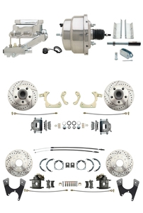 "DBK55581012FSLX-GMFS1-333 - 1955-1958 GM Full Size Disc Brake Kit Drilled/Slotted Rotors (Impala, Bel Air, Biscayne) & 8"" Dual Stainless Steel Booster Conversion Kit w/ Chrome Flat Top Master Cylinder Left Mount Disc/ Disc Proportioning Valve Kit"