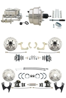 "DBK55581012FSLX-GMFS1-334 - 1955-1958 GM Full Size Disc Brake Kit Drilled/Slotted Rotors (Impala, Bel Air, Biscayne) & 8"" Dual Stainless Steel Conversion Kit w/ Chrome Master Cylinder Bottom Mount Disc/ Disc Proportioning Valve Kit"