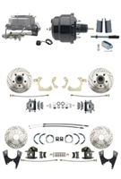 "DBK55581012FSLX-GMFS1-722 - 1955-1958 GM Full Size Disc Brake Kit Drilled/Slotted Rotors (Impala, Bel Air, Biscayne) & 8"" Dual Powder Coated Black Booster Conversion Kit w/ Aluminum Master Cylinder Bottom Mount Disc/ Disc Proportioning Valve Kit"