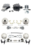 "DBK55581012FSLX-GMFS1-723 - 1955-1958 GM Full Size Disc Brake Kit Drilled/Slotted Rotors (Impala, Bel Air, Biscayne) & 8"" Dual Powder Coated Black Booster Conversion Kit w/ Aluminum Master Cylinder Left Mount Disc/ Disc Proportioning Valve Kit"