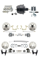 "DBK55581012FSLX-GMFS1-724 - 1955-1958 GM Full Size Disc Brake Kit Drilled/Slotted Rotors (Impala, Bel Air, Biscayne) & 8"" Dual Powder Coated Black Booster Conversion Kit w/ Chrome Flat Top Master Cylinder Bottom Mount Disc/ Disc Proportioning Valve"