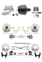 "DBK55581012FSLX-GMFS1-725 - 1955-1958 GM Full Size Disc Brake Kit Drilled/Slotted Rotors (Impala, Bel Air, Biscayne) & 8"" Dual Powder Coated Black Booster Conversion Kit w/ Chrome Flat Top Master Cylinder Left Mount Disc/ Disc Proportioning Valve Ki"