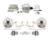 "DBK5558LX-GMFS1-310-1955-1958 GM Full Size Disc Brake Kit w/ 8"" Dual Chrome Power Brake Booster Conversion Kit (Impala, Bel Air, Biscayne)"