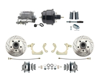 "DBK5558LX-GMFS1-708-1955-1958 GM Full Size Disc Brake Kit w/ 8"" Dual Powder Coated / Aluminum Booster Conversion Kit (Impala, Bel Air, Biscayne)"