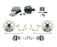 "DBK5558LX-GMFS1-709-1955-1958 GM Full Size Disc Brake Kit w/ 8"" Dual Powder Coated / Aluminum Booster Conversion Kit (Impala, Bel Air, Biscayne)"