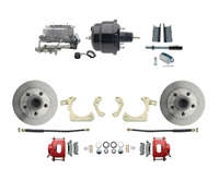 "DBK5558R-GMFS1-708-1955-1958 GM Full Size Disc Brake Kit w/ 8"" Dual Powder Coated / Aluminum Booster Conversion Kit (Impala, Bel Air, Biscayne)"