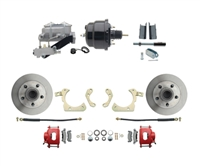 "DBK5558R-GMFS1-709-1955-1958 GM Full Size Disc Brake Kit w/ 8"" Dual Powder Coated / Aluminum Booster Conversion Kit (Impala, Bel Air, Biscayne)"