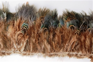 Pheasant Plumage Fringe - Blue/Green Hairy