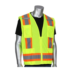 PIP 302-0500M-LY ANSI Type R Class 2 Two-Tone 11-Pocket Mesh Surveyors Vest, Hi Vis Lime Yellow, 2X Large,PIP#302-0500M-LY/2XL Hi-Vis Vest