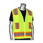 PIP 302-0500M-LY ANSI Type R Class 2 Two-Tone 11-Pocket Mesh Surveyors Vest, Hi Vis Lime Yellow, Large,PIP#302-0500M-LY/L Hi-Vis Vest