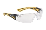 Bolle 40245 Rush + Safety Glasses - Clear Platinum Black PS + Yellow TPR, Bolle Safety #40245, Bolle Safety Glass #40245