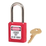 Master Lock 410RED Red Zenex™ Thermoplastic Safety Padlock, Keyed Different, Master Lock #410RED