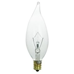 40FTIP/CL/130V/3M CLEAR FLAME TIP E12 BASE, CFC40, 40 WATT CLEAR FLAME TIP BULB CANDELABRA (E12) BASE