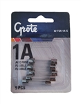 Grote 82-FSA-1A-G AGC, Glass Fuse, 1A, 5 Pk, Littlefuse# 0AGC001.VPA, PICO# 965114, Tectran# 88-0001, Trucklite# BP/AGC-1, Grote #82-FSA-1A-G, Grote Glass Fuses,