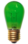 11S14/TGREEN/130V/3M 11 WATT TRANSPARENT GREEN S14 130 VOLT E26 BASE, 11S14TGREEN, 11S14-TGREEN, 11S14-TG, TRANSPARENT GREEN S14, 11 WATT TRANSPARENT GREEN S14 MEDIUM BRASS BASE 130 VOLT