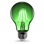 Feit Electric – A19/TG/LED A19 Clear Glass Green LED Bulb, Feit #A19/TG/LED, Feit Green LED A19, Green LED A19 Party Bulb