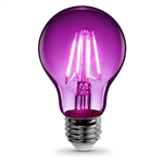 Feit Electric – A19/TP/LED A19 Clear Glass Purple LED Bulb, Feit #A19/TP/LED, Feit Purple LED A19, Purple LED A19 Party Bulb