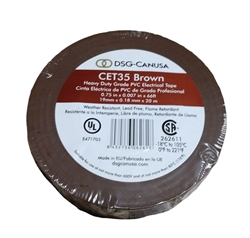 CET35 Brown Electrical Tape, CET35 Brown, Brown PVC Electrical Tape, Brown Tape, Brown Electric Tape, DSG-CANUSA CET35 Brown Electrician's Tape, Brown Phase Tape #CET35 Brown Heavy Duty Grade PVC Electrical Tape