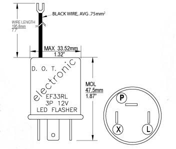 EF33RL 12V 0.10-20A 3 Pin LED Electronic Flasher