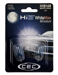 HIB168WM White Max 2 Piece Blister Pack,T-3 1/4 WEDGE (W2.1X9.5d) 14V WhiteMax , #168 WhiteMax Miniature Bulbs 2 Pack, CEC #HIB168WM Bulbs