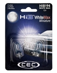 HIB194WM White Max 2 Piece Blister Pack,T-3 1/4 WEDGE (W2.1X9.5d) 14V WhiteMax , #194 WhiteMax Miniature Bulbs 2 Pack, CEC #HIB194WM Bulbs