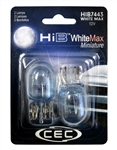 HIB7443WM White Max 2 Piece Blister Pack, HIB7443 WM, T-6 1/2 Wedge W3X16q 12V 21/5W (W21/5W) WhiteMax, CEC #HIB7443, WhiteMax #7443
