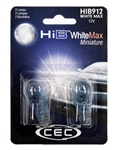 HIB912WM WhiteMax 2 Piece Blister Pack,T-5 WEDGE 12.8V WhiteMax , #912 WhiteMax Miniature Bulbs 2 Pack, CEC #HIB912WM Bulbs