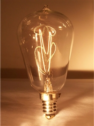 15S14/E12/Clear S14 120V 15 Watt Carbon Filament E12 Base, S-14 CARBON FILAMENT, S14 CARBON FILAMENT, ANTIQUE REPRODUCTION LIGHT BULB, ANTIQUE LIGHT BULBS, ANTIQUE LAMPS, ANTIQUE BULBS, CENTENNIAL LAMP, CENTENNIAL LIGHT BULB