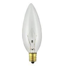 40b10 E12 220v 40 Watt 220 Volt B10 Clear Base Torpedo Bulb Candelabra