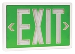 Tritium Exit Sign Green & White 20 Year - SLXTU1GW20, Self Luminous Tritium Exit Sign, 20 Year Single Sided Green Stencil White Frame Tritium Self-Luminous Exit Sign, #SLXTU1GW20