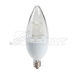 Topaz – LCTC/5/830/D-33C Dimmable Blunt Tip LED, Topaz LCTC/5/830/D-33C, Topaz #79896, 4.7 Watt Dimmable LED CTC Chandelier Bulb E12 Base, Topaz 79896
