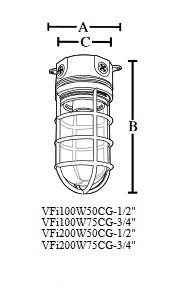 Topaz - VFi200W50CG Vapor-Proof Light Fixture