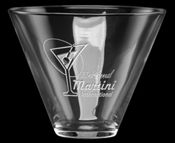 Promotional Stemless Deep Etched Martini Glass 13.5oz
